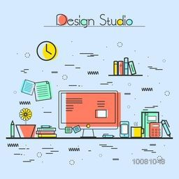 Modern flat style illustration of Design Studio, Designer Workplace, Office Desk with various objects. Hero Image concept, Website Elements layout.