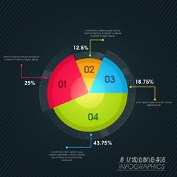 Glossy colorful infographic pie-chart with statistics for your Business Reports and Presentation.