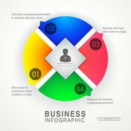 Colorful infographic circle layout for Business reports and presentation.