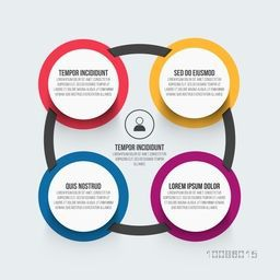 Colorful circle infographic elements for Business reports and presentation.