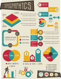 Big set of business infographic elements for financial growth and reports presentation.