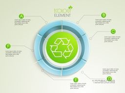Creative 3D statistical infographic element with illustration of shiny recycle sign or symbol for ecology concept.