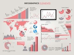 Creative infographic elements like graphs, bars and pie charts for business data presentation.