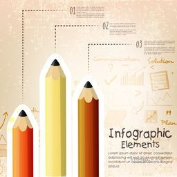 Business infographic layout with colorful pencils and infographic elements on grungy background.