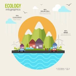 Creative ecological infographic template layout with view of urban city, solar panel and vehicles running on road.