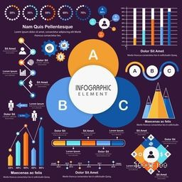 Big set of various statistical infographic elements for effective business reports and professional presentation.