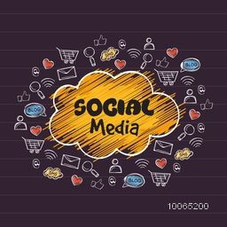 Collection of various social media icons, signs and symbols for online communication concept.