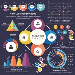 A big set of creative infographic elements with statistical graphs and charts on blue background for your business reports and presentation .