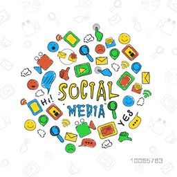 Set of colorful hand drawn social media icons, signs and symbols for network communication concept.