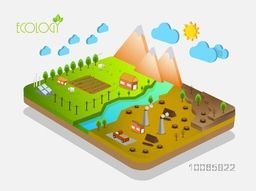 3D view of a energy industry on grey background, Creative infographic template layout for ecology concept.