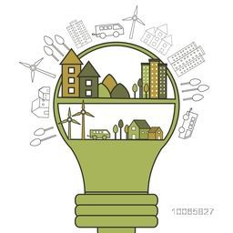 Big light bulb with illustration of buildings, trees, wind turbines and vehicles, Creative infographic elements set based on ecology and idea concept.