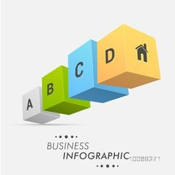 3D colorful cubes Infographic elements for your business presentation on grey background.