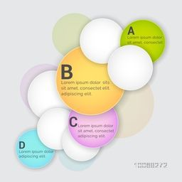 Shiny colorful Infographic circles on grey background for business or corporate sector.