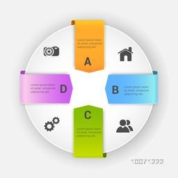 Stylish Business Infographic layout with colorful ribbons and web icons on grey background.