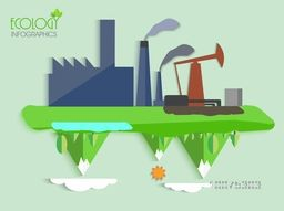 Creative ecology infographic template with illustration of a factory showing cause of pollution.