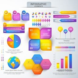 Big set of colorful Business Infographic elements with statistical graphs for your professional reports and financial data presentation.