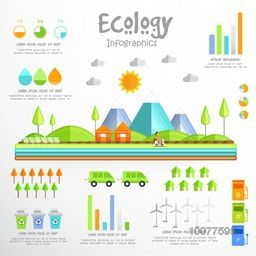 Creative Ecological Infographic elements with view of urban city and various statistical graphs.