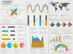 Colorful creative Business Infographic elements including statistical bar, graphs, chart and world map.