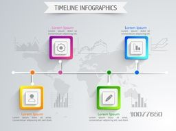 Creative Timeline Infographic layout with various colorful statistical bars, charts and graphs for business reports and presentation on world map background.