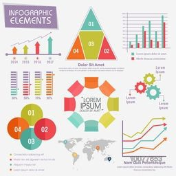 Big set of colorful various Business Infographic elements including statistical bar, graphs, charts and world map for your professional reports presentations.