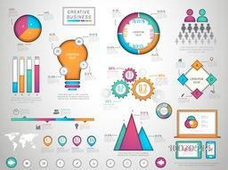 Big set of colorful creative Business Infographic elements including statistical bar, graphs and chart for your Business report presentation.