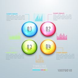 Creative Timeline Infographic layout with colorful statistical graphs and numbers.