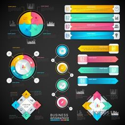 Various Business Infographic elements including statistical bar, graphs and charts for your professional reports and financial data presentation.