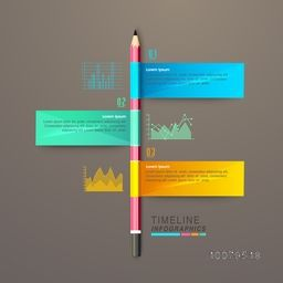 Creative Timeline Infographic template layout with glossy pencil and different statistical graphs for your professional reports and presentation.