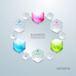 Creative glossy Business Infographic layout with web icons and numbers.
