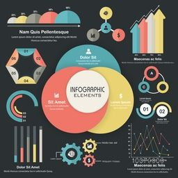 Big set of colorful Business Infographics elements with different statistical graphs and charts to present your data effectively.