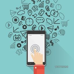 Networking and Communication concept with illustration of human hand working on tablet and various social media icons.