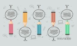 Creative Business Infographic layout with illustration of colorful pencil.