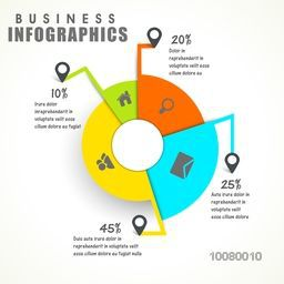 Colorful statistical pie chart with web symbols on white background for your Business.