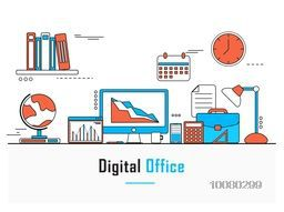 Modern flat style illustration of Digital Office, Workspace or Workplace with set of different office items, objects and equipments for Business concept.