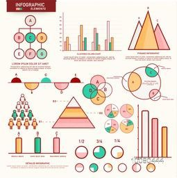 Flat thin line, icons, elements for Infographics set. Vector illustration.