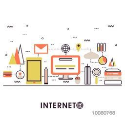 Modern flat style illustration of internet of things data technology, network infrastructure of connecting everything.Can be used as web banner, hero image and website slider.