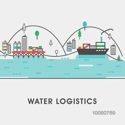 Modern flat style illustration of cargo freight shipping by water, sea transport delivery, export logistics control. Can be used as web banner, hero image and website slider.