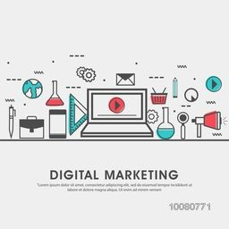 Modern flat style illustration of digital marketing advertising, social media campaign promotion, smm data research.Can be used as web banner, hero image and website slider.