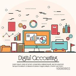Modern flat style illustration of Digital Accounting Service, Investment Research, Business Data Analysis.One page web design template, Hero Image concept, website elements layout.