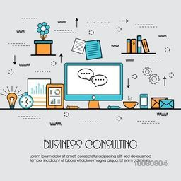 Modern flat style illustration of Business Consulting, Corporate Consulting, Strategic Management, Financial Planning and Office Organization.One page web design template, hero image concept, website elements layout.