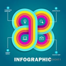 Creative colorful infographic elements with wed icons for your business presentation.
