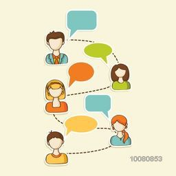 Social media, Networking and Communication concept with illustration of people and blank speech bubbles.