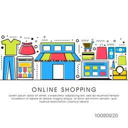 Modern flat style illustration with thin line icons of Online Shopping process, Internet Merchant Marketplace, Customer Order Delivery.One page Web Design template, Hero Image concept, Website Elements layout.