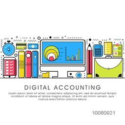Modern flat style illustration of Digital Accounting Service, Investment Research, Business Data and Market Analysis.One page web design template, Hero Image concept, Website Elements layout.