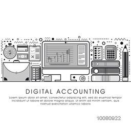 Modern flat style black and white illustration of Digital Accounting Service, Investment Research, Business Data Analysis.One page web design template, Hero Image concept, Website Elements layout.