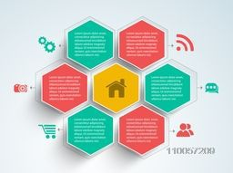 Business infographic user interface with web menu design on grey background.