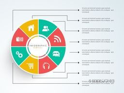 Stylish business infographic user interface with menu function and details on grey background.