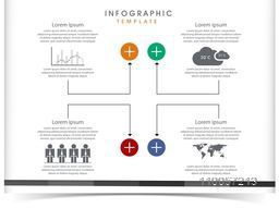 Stylish business infographic user interface on white background.