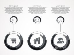 Stylish business infographic user interface with menu function and its details on grey background.