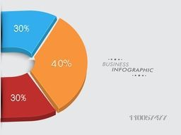 Business infographic layout with pie chart and different percentage on grey background.